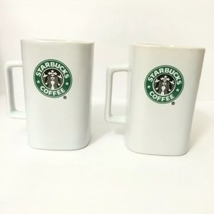 Set Of 2 Starbucks Square Coffee Mugs 2007